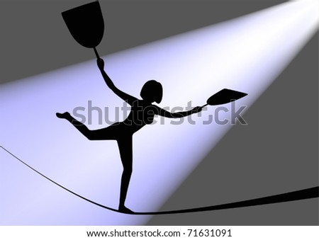 Girl on a rope - stock vector