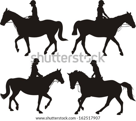 girl on horse - dressage silhouettes - stock vector