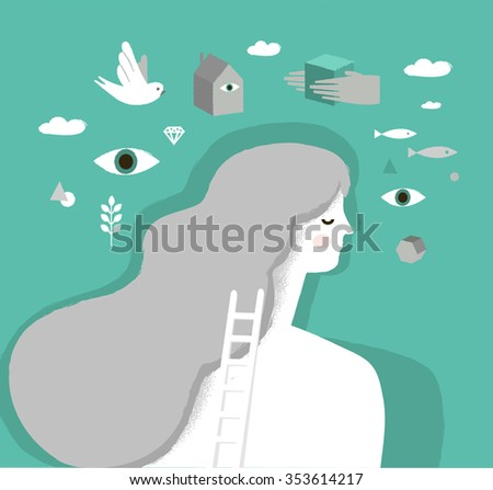 Girl on psychotherapy. Dream Head. Psychology vector illustration - stock vector