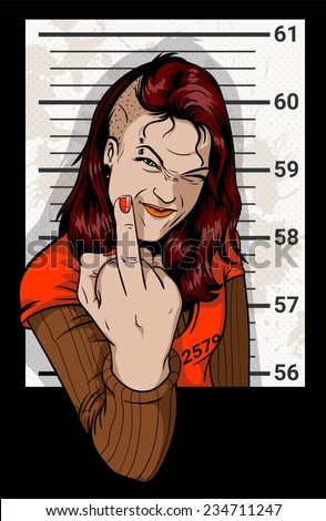 Girl photographed for a criminal case. Anarchist woman detained by police. Resisting arrest. Girl showing middle finger. - stock vector