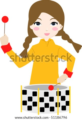 Girl play the drum - stock vector