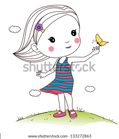 girl playing butterfly - stock vector