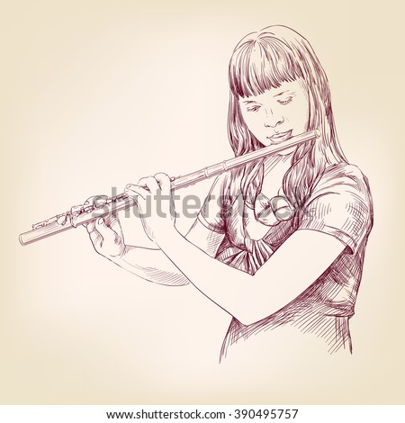 Girl playing the flute hand drawn vector llustration realistic sketch - stock vector
