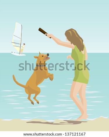 girl playing with a dog by the sea - stock vector