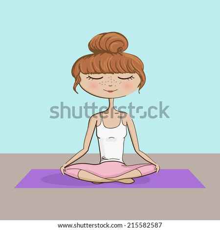Girl Practicing Yoga Illustration - hand drawn vector EPS10 - stock vector