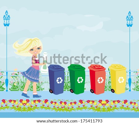 Girl recycling plastic bottles  - stock vector