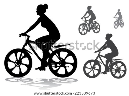 girl rides a bicycle on a walk - stock vector
