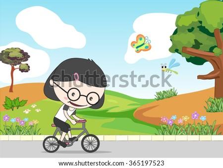girl riding a bike near the garden - stock vector