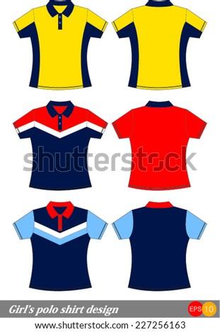 girl's polo shirt design Vector template  - stock vector