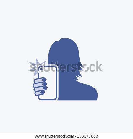 Girl self taking photo - vector illustration - stock vector