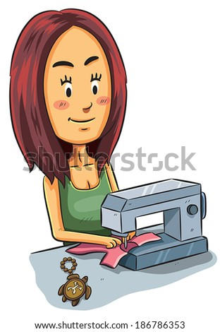 Girl Sewing - stock vector