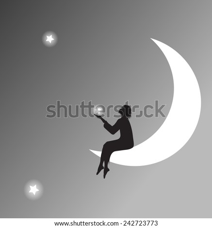 girl silhouette sitting on the moon and touching the star, black and star,shadows, dreams - stock vector