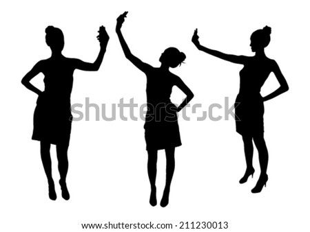 Girl silhouettes taking selfie with smart phone - stock vector
