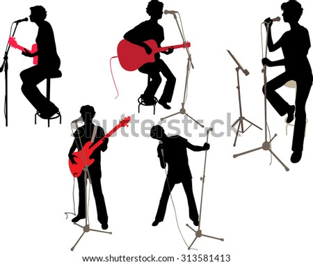 Girl singing and playing a acoustic and a bass guitar  - stock vector