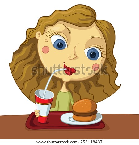 girl Sitting in Front of a Tray Filled with Fastfood - stock vector