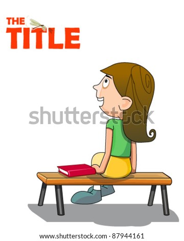 Girl sitting on bench - stock vector
