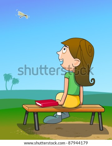 Girl sitting on park bench - stock vector