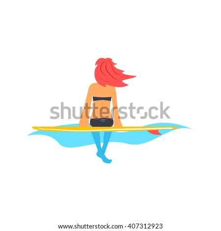 Girl Sitting On Surfboard On The Water Flat Isolated Cartoon Simple Design Illustration In Bright Colors On White Background - stock vector