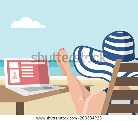 Girl sitting on the beach with her laptop - vector illustration - stock vector