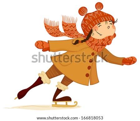 Girl skates on ice. - stock vector