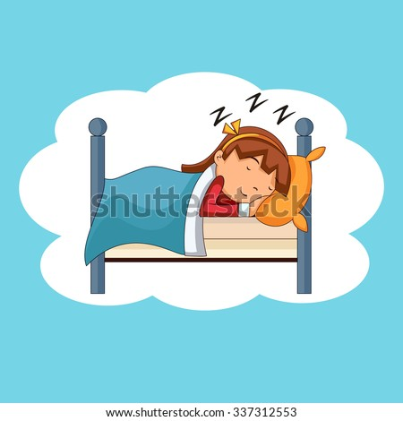 Girl sleeping, bedtime, vector illustration - stock vector