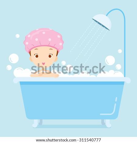Girl taking a bath in bathtub, body, beauty, spa, health, lifestyle, relax - stock vector