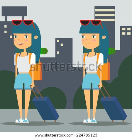 Girl tourist with city background. Female character - stock vector