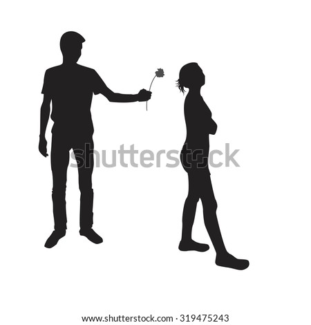 Girl turns away from young man who gives her a flower. Silhouette of young man and girl. - stock vector