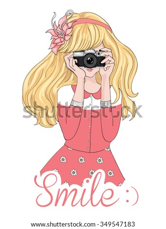 Girl vector/Girl with camera and lettering/illustration photographer girl/cute girl/Cute young/t-shirt graphic/Beautiful happy smiling photographer girl taking photo using old retro analog camera - stock vector