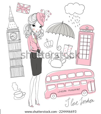 Girl.Vector set of London.  - stock vector