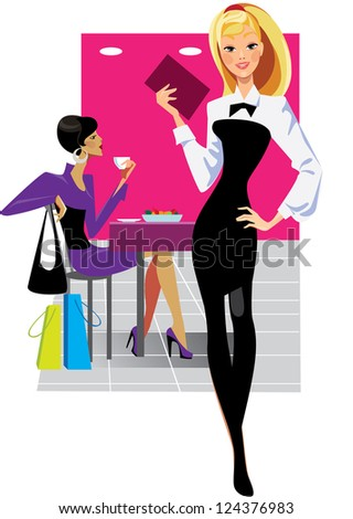 girl waiter and woman in cafe - stock vector