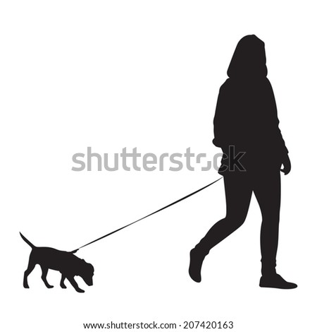 Girl walking with dog - Silhouette - stock vector