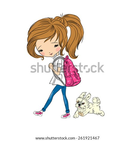 Girl walking with dog, vector illustration - stock vector