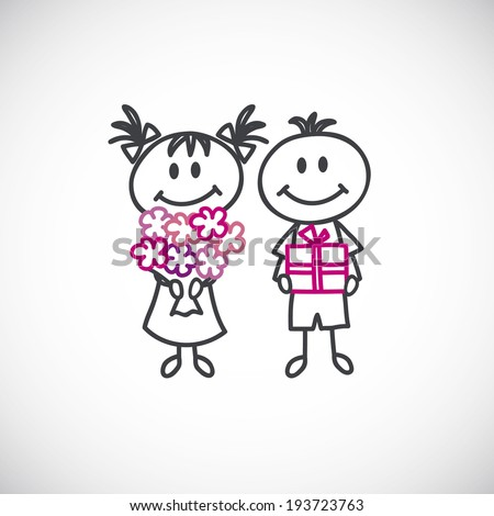 girl with a bouquet of flowers and boy with a gift box(cartoon doodle) - stock vector