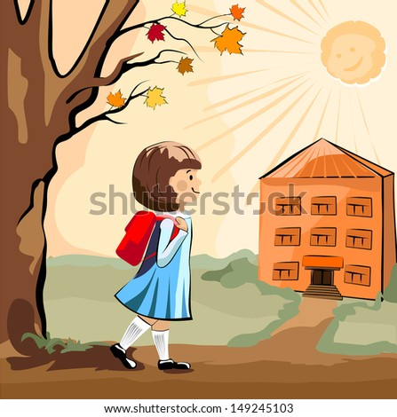 Girl with a satchel (portfolio) goes to school in the fall - stock vector