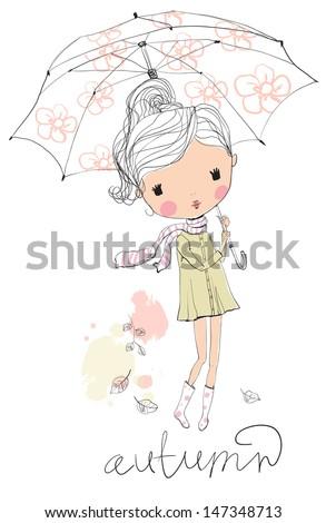 Girl with an umbrella. Autumn - stock vector