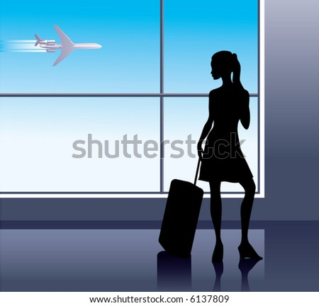 Girl with baggage in airport - stock vector