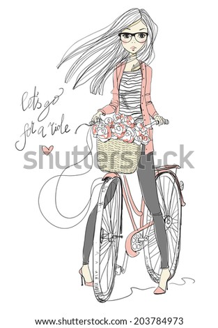 girl with bike  - stock vector