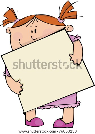 Girl with blank poster - stock vector