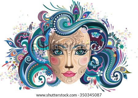 Girl with blue hair. - stock vector