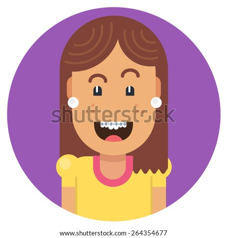 Girl with braces on teeth laughing with joy. Fully editable vector illustration of a flat style. - stock vector