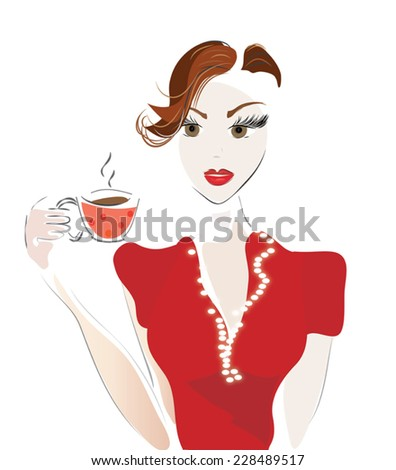 Girl with Coffee Cup or Tea. Vector of a Woman in a Cafe - stock vector