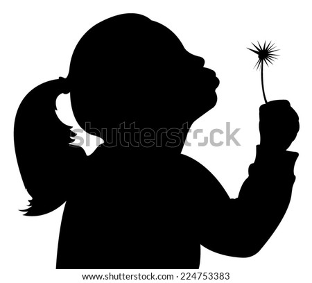 girl with dandelion  - stock vector