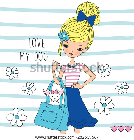 girl with dog vector illustration - stock vector