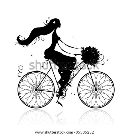 Girl with floral bouquet cycling in the city - stock vector