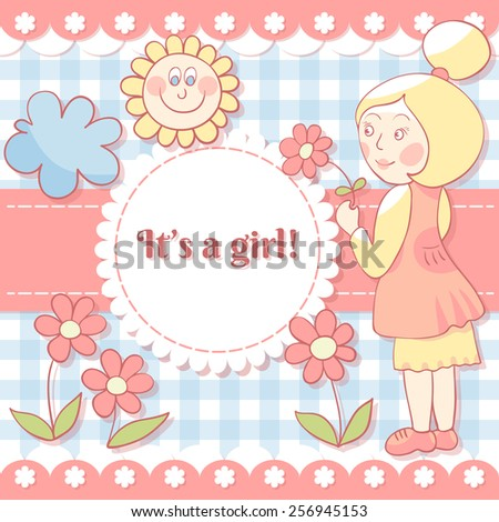 Girl with flower. Cute photo frame. Scrapbook elements.   Baby shower card. Vector illustration. EPS10 - stock vector