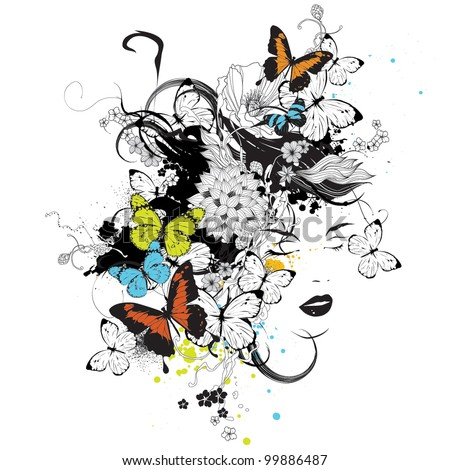 Girl with flowers and butterflies vector illustration - stock vector