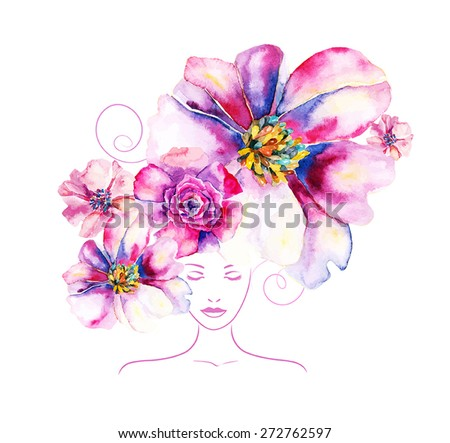girl with flowers and pattern in your hair - stock vector
