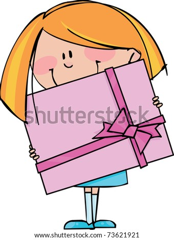 Girl with gift - stock vector