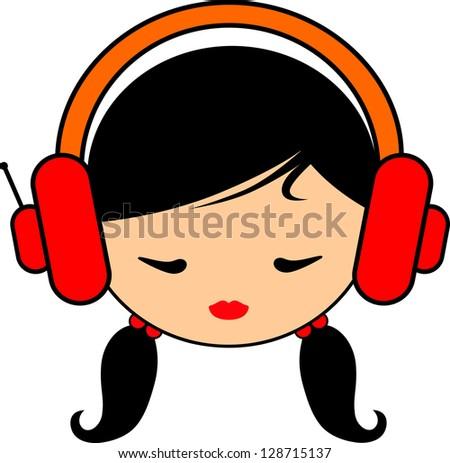 girl with headphones, vector silhouette - stock vector